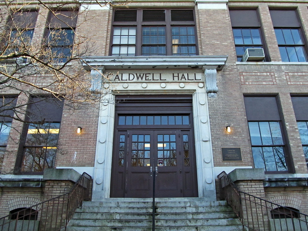 The front door of Caldwell Hall