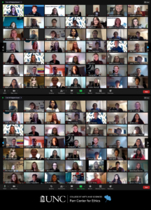 Screenshot of 2020-2021 Undergrad Fellow Cohort over zoom. All are dressed nicely and smiling at their camera.